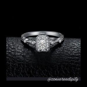 Emerald Cut Milgrain Halo Style Engagement Ring